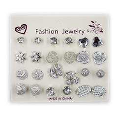 12 Pairs /Set Fashionable Stud Earrings Alloy with Rhinestone Ladies' Jewelry silver 1 size