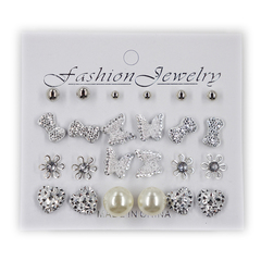 12 Pairs /Set Fashionable Stud Earrings Alloy or Pearl Ladies' Jewelry Women Gift as picture 1 size