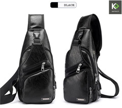 Men's Stylish Leather Chest / Sling Bag Black One-Size