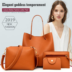Women's Bag Pure Colour Mother Bag Litchi Pattern Four-piece Set Women's Bag Simple One-shoulder Bag brown one size