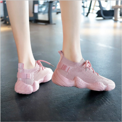 ZW Women Shoe Mesh Spring Sneakers Ladies Lace Up Stretch Fabric Casual Shoes Breathable Fashion Pink 35