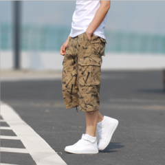 Hot-Selling Multi-Pocket Overalls Large Size 7-Minute Trousers Outdoor Camouflage Men's Trousers khaki 30