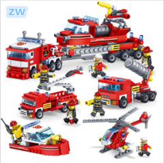 Fire Fighting 4in1 Trucks Car Helicopter Boat Building Blocks  Firefighter Figures Children Toys 4in1 Trucks ONE