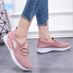ZW Women Shoe Flying Weaving Shoes Running Leisure Wear-resistant Soft-soled Skid-proof Sports Shoes pink 36