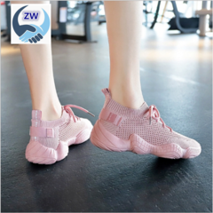 ZW Women Shoe Mesh Spring Sneakers Ladies Lace Up Stretch Fabric Casual Shoes Breathable Fashion pink 37