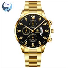 ZW Watches Men Watches Fashion Fake Three Eye Stainless Steel Calendar Quartz Watches golden one