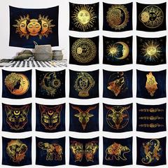 Fashion trend eclipse Moon sun pattern bedroom living room wall tapestry home decoration 130cm*150cm no.34 130cm*150cm(short plush)