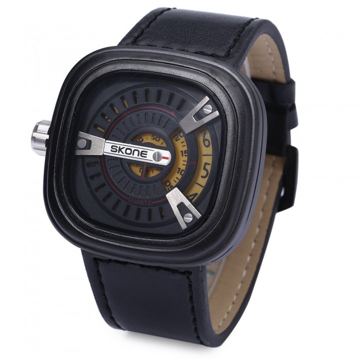 Quartz Wrist Watch Men Leather Band Watch with Date Function
