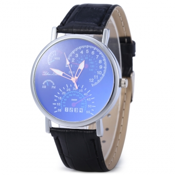 Korean Version Blu-ray Glass Men Women Business Leather Band Wrist Watch Blue
