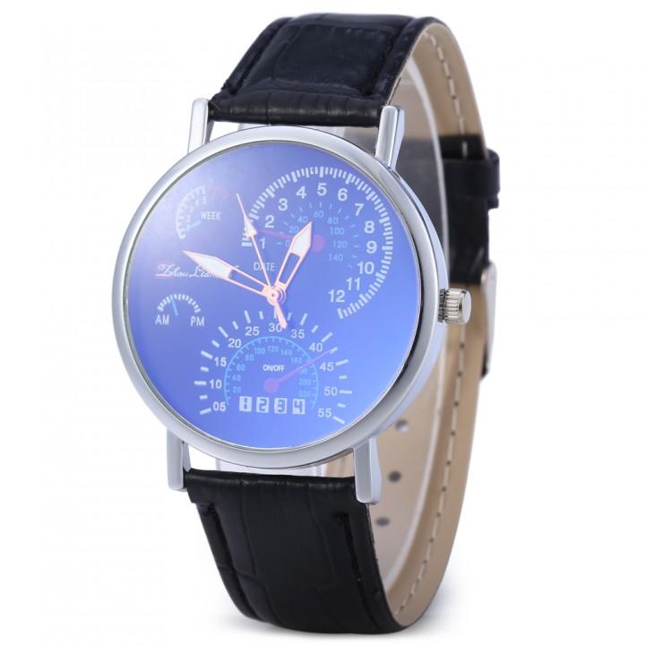 Korean Version Blu-ray Glass Men Women Business Leather Band Wrist Watch Blue