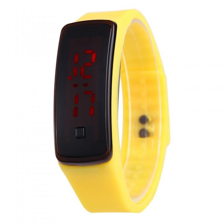 Smart Watch LED Digital Bracelet Watch Sport Silicone Strap Wristwatch for Men Women Yellow 170mm-288mm