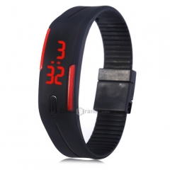 SMart Watch LED Watch Date Red Digital Rubber Wristband Rectangle Dial Black 170mm-288mm