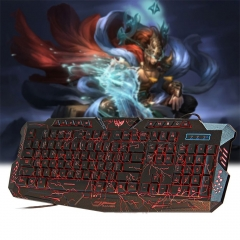M-200 3 Colors Backlight Wired Gaming Keyboard Fire Cracks USB Powered for Gamers colorful one size