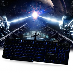 Multimedia LED Illuminated 3 Color Backlight Wired USB Gaming Keyboard with 104 Keys black one size