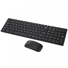 2.4G Optical Wireless Keyboard and Mouse Combo Kit with USB Receiver black one size