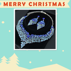 Vintage Luxury Elegant Crystal Bridal Necklace Earrings Jewelry Sets Fashion Jewelry Love Fairy wing blue 42cm
