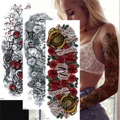 New Full Arm Tattoo Stickers Waterproof Large Temporary Stickers One Time Men Women Body Art TQB-054
