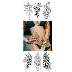 Fasion Black & White Sketch Flower Tattoo Sticker Abstract Rose Flower One Time Men Women Body Art BK-011