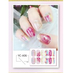 2021 New Translucent Gradient Glitter Nail Sticker All Paste Crystal Nail Polish Sticker Waterproof YC-A01