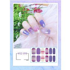 2021 New Translucent Gradient Glitter Nail Sticker All Paste Crystal Nail Polish Sticker Waterproof WSZ-090