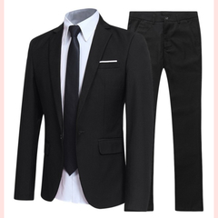 Men's Fashion Slim Jacket + Pants 2 Piece Suit Groom Men's Dress Suit Men's Business Social Dress black S