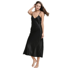 Women's fashion sexy lace satin V-neck nightdress sexy strap solid color dress pajamas black s