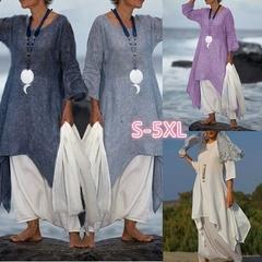 Dress Irregular Leisure Loose Fitting Linen Shirt Tunic Pullover Blouse Baggy Cotton Dress Plus Size l balck