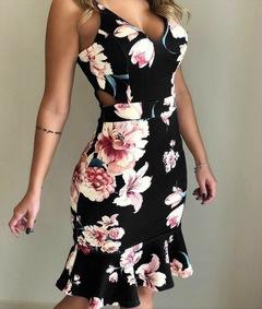 Vneck Spaghetti Strap  Print Flounce Floral Dovetail Dress Sexy Dress Party Night Club Dress l balck