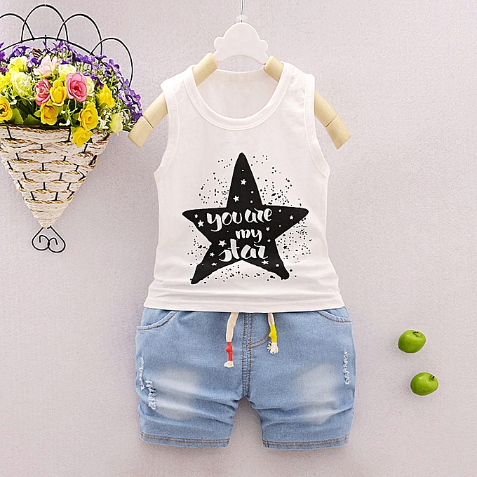 Baby Outfit 2Pcs Infant Baby Boys Girls Star Letter Tops Vest+Shorts Outfits Clothes Set white m cotton blend