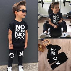 Boy clothes1-5years Short Sleeve NoPain No Gain Letter Black T-shirt Tops +Pants Outfit Clothing Set black 90cm cotton blend