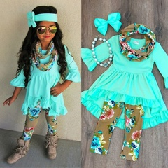 1-6years Girls T-shirt Tops Dress+Floral Leggings Headband Outfits Clothes Set  Kids Baby GREEN 130cm