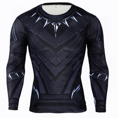 Shirts Men's clothes Avengers Black Panther Style Clothes Male Jogging Running Casual wear black l