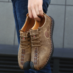 leather shoes weddingpartyshoe HOT SALE BRAND Gentleman Classical Retro Casual Leather Shoes Khaki 43