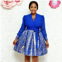 Dresses for women V-neck Elegant Women  blue White  Dress long Sleeve  Dress  short Party Dress xl blue