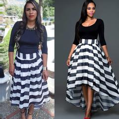Skirt Long Maxi Formal Party Cocktail Striped Dress Prom Gown Dress Women Dress Vestidos XL balck