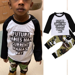 Toddler Kids Baby Boy Camo Outfits Clothes T-shirt Tops+Pants Trousers 2PCS Set white 120cm