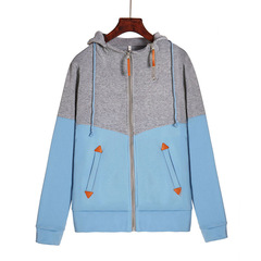 Women's Clothes Sweaters Fashion zipper colorblock hooded long sleeve plus velvet sweater sky blue l