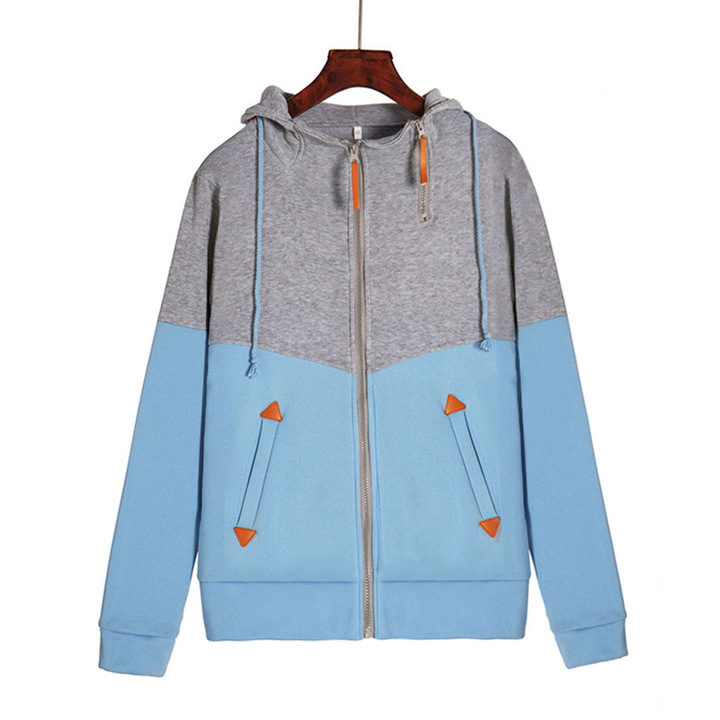 Women's Clothes Sweaters Fashion zipper colorblock hooded long sleeve plus velvet sweater sky blue s