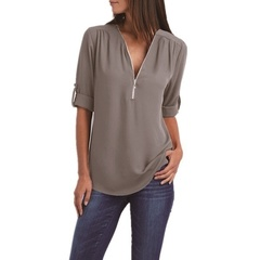 Blouses  Long Sleeve V-Neck zipper Chiffon Shirts ladies Plus size Loose England Style 5XL Tops grey 5xl
