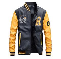 Men Baseball Jacket Embroidered Leather Pu Coats Slim Fit College Fleece Luxury Pilot Jackets yellow1 m