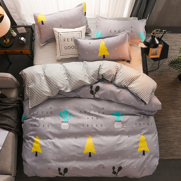 New style 4Pcs Aloe Cotton Bedding Set(1 Duvet cover+1 Bed sheet+2 Pillow covers)Soft Quality as a piture 220cm * 240cm