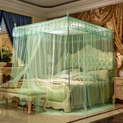 Sales Water Green Lace Mosquito Net Encryption European Style Crown Bed Net With Metallic Stand Light Green 6x6.6= 200cm *220cm+25mm metal stand