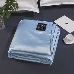 2019 new fashion summer Ice silk quilt  washed silk quilt cover soft and high quality love sky blue 150cm*200cm