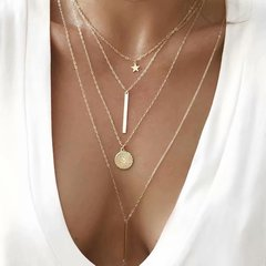 Wonen's New style  necklace creative  simple Star round pendant multi-layer  four-layer necklaces Gold 050064 41.2+5cm/55.6+5cm/65.6+5cm