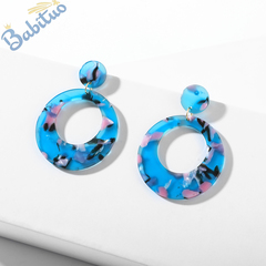 Babituo 2019 women fashion accessories jewellery circle loop geometric drop jewelry earrings Blue As picture