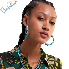 Babituo large round hoop earrings with turquoise stone decor jewelry for women fashion accessories Blue as picture