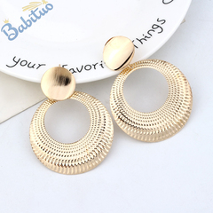 Babituo Fashion modern Metallic round hoop Drop Earring jewelry for women fashion accessories Golden As picture