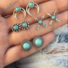 Babituo 4 pairs/set bohemian stud earrings jewelry vintage valentine earings women jewellery gift Silver + Blue bead as picture