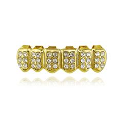 Hiphop teeth bling grillz iced out punk dental grills hip hop jewellery men&women fashion jewelry bottom teeth golden 5*1.3cm/4*1.1cm