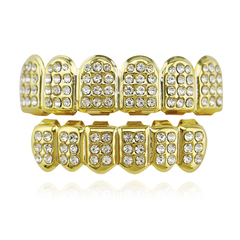 Babituo Hiphop teeth bling grillz iced out punk dental grills hip hop jewellery men&women jewelry golden 5*1.3cm/4*1.1cm